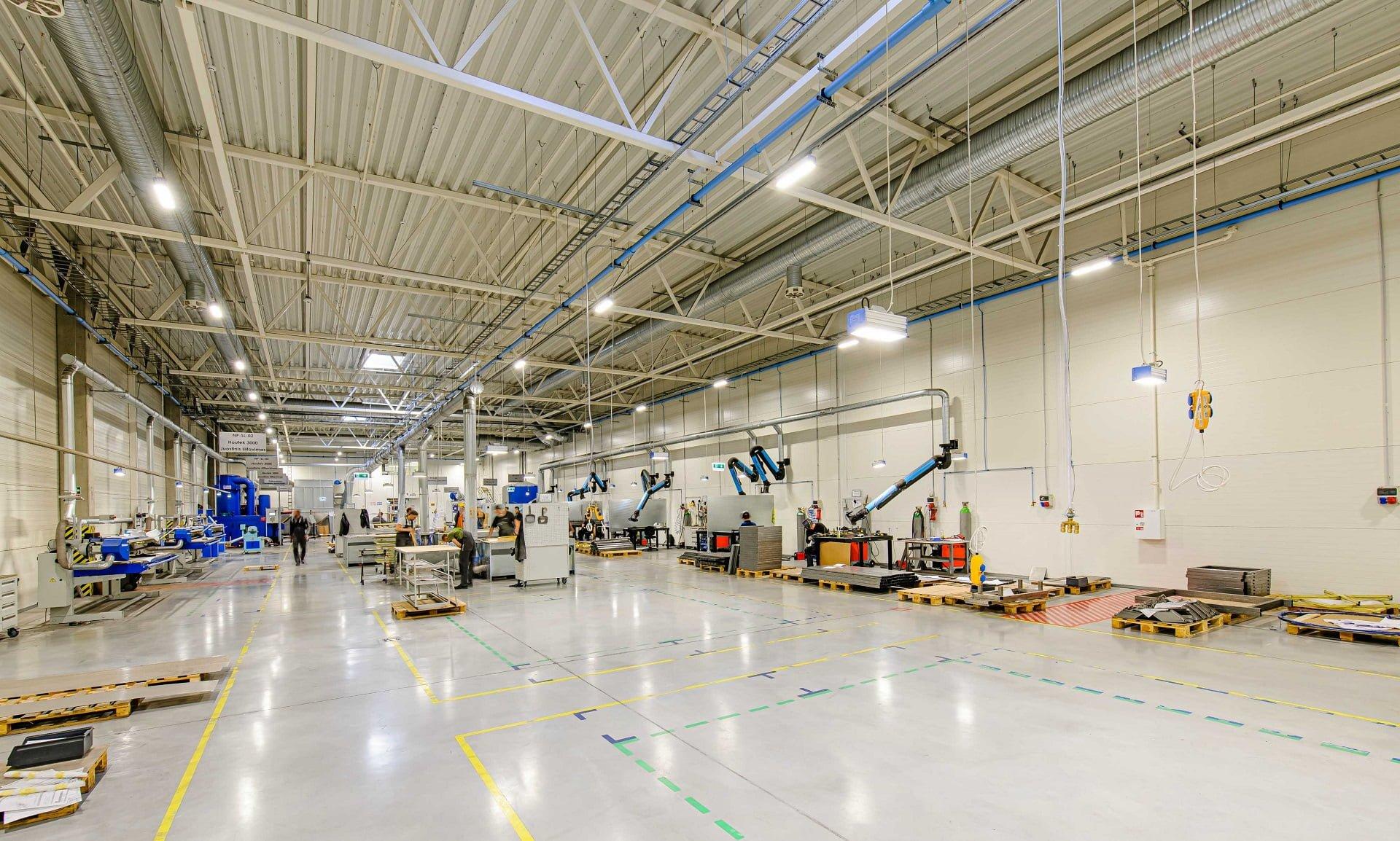 Baldų gamyklai suprojektuotas gamybos paskirties pastatas - PST projektai
